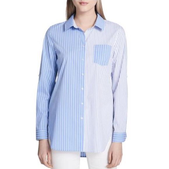 Calvin Klein Mixed Stripe Oversized Button Down